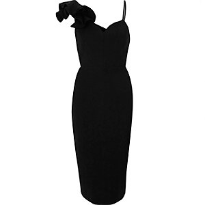 Black frill shoulder bodycon midi dress