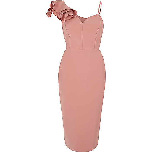 Light pink frill shoulder bodycon midi dress