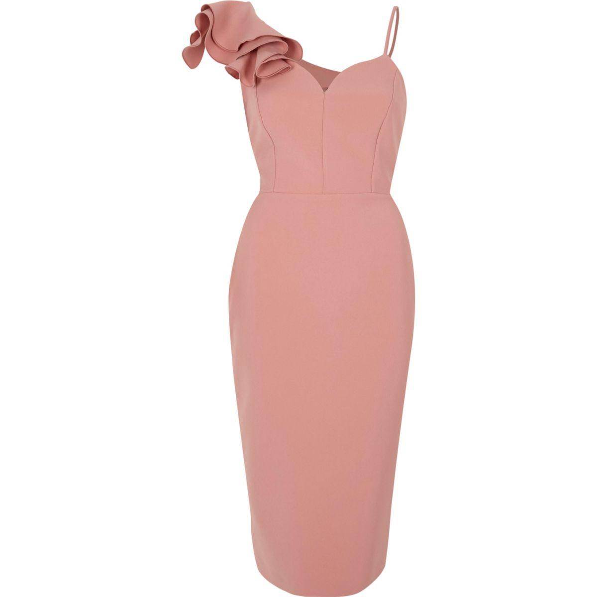 Light pink frill shoulder bodycon midi dress