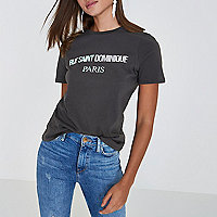 Grey 'Rue Saint Dominique' print T-shirt