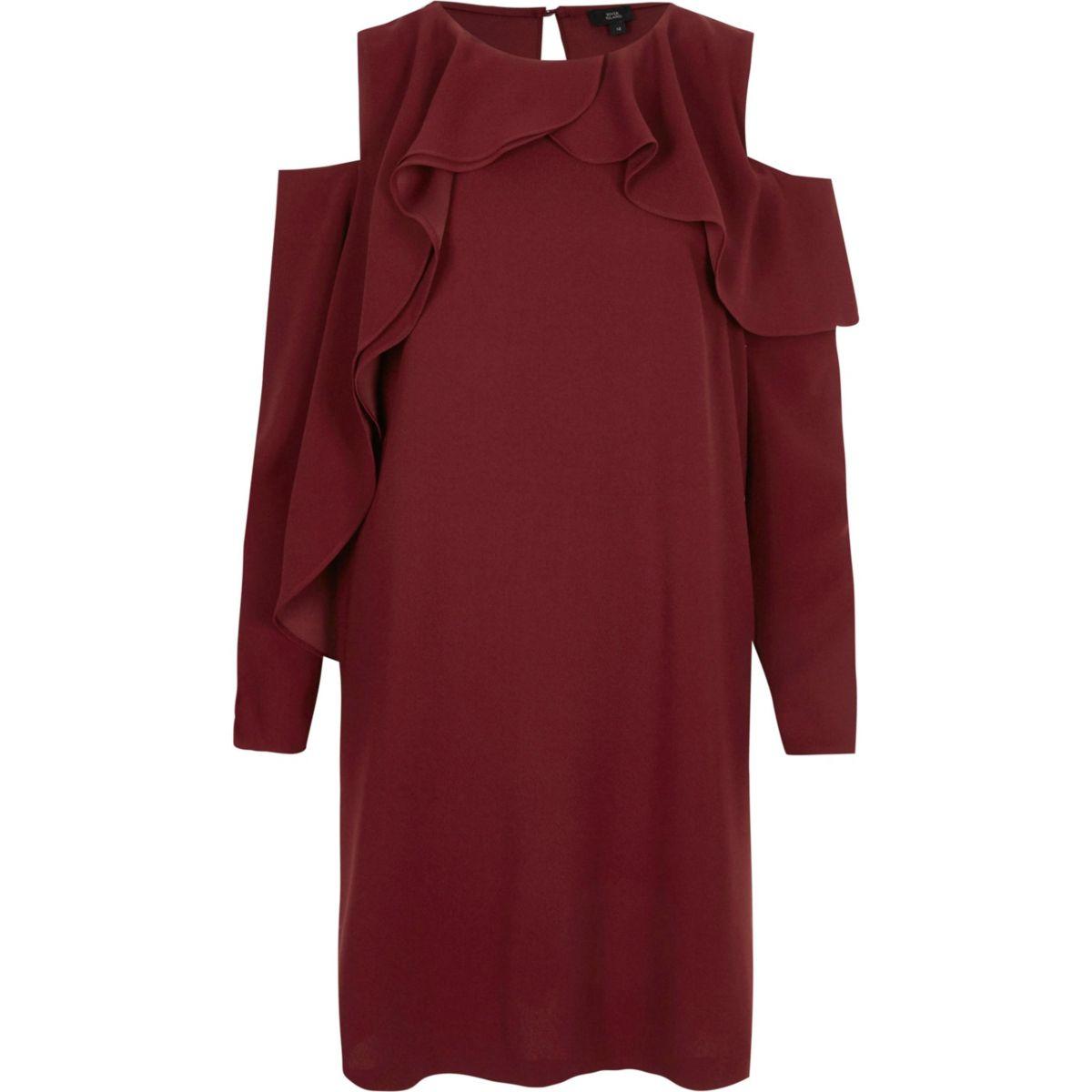 Dark red cold shoulder frill swing dress