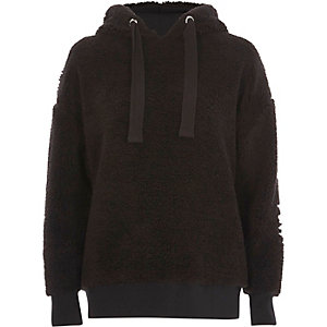 Black fleece embroidered hoodie