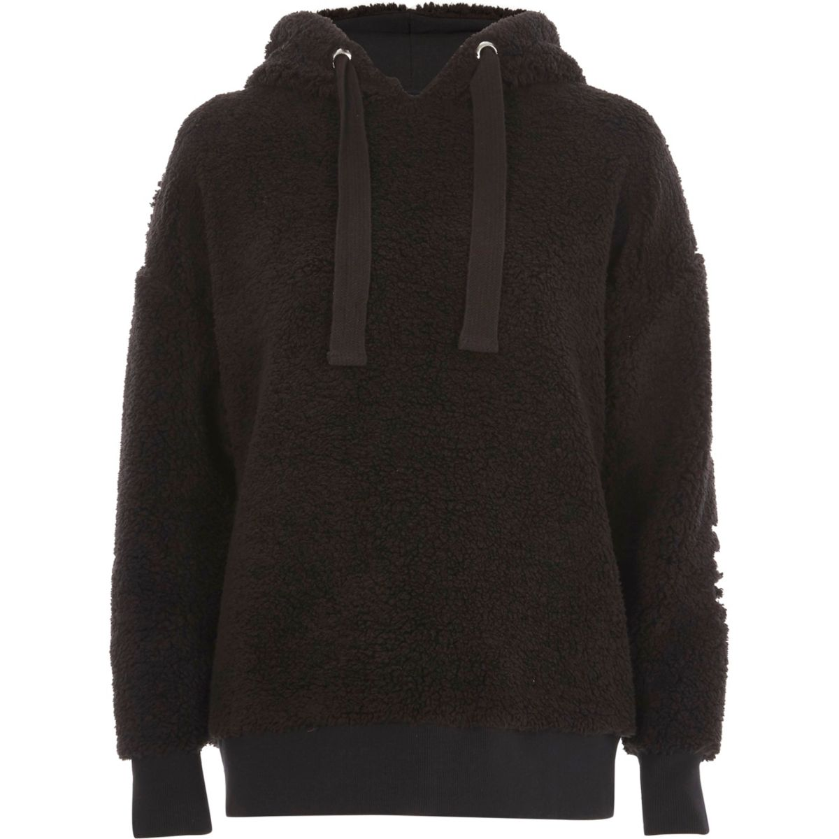 Zwarte fleece verfraaide hoodie