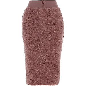 Pink fleece zip-up pencil skirt