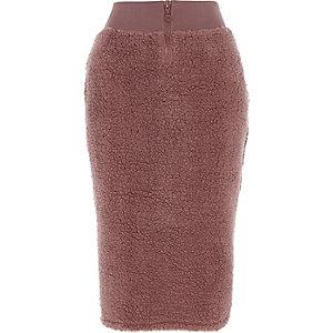 Roze fleece kokerrok met rits