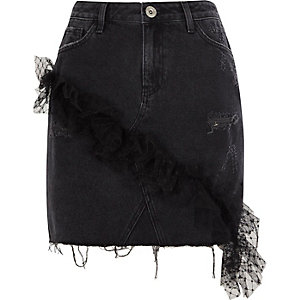 Black mesh frill denim mini skirt