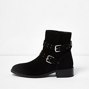 Black suede studded buckle ankle boots