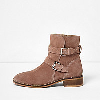 Beige suede studded buckle ankle boots