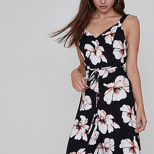 Petite black floral print culotte jumpsuit