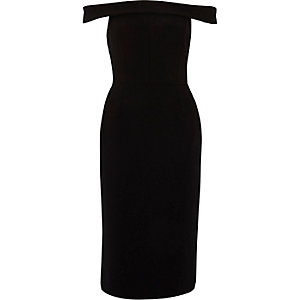 Black bardot frill back bodycon midi dress