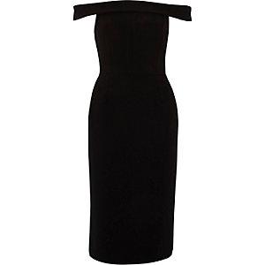 Robe Bardot près du corps noire mi-longue à volant au dos