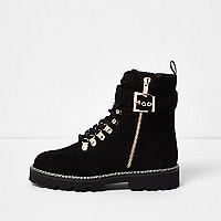 Black faux suede buckle side boots