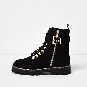 Black faux suede buckle side boots