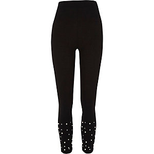 Black faux pearl embellished leggings