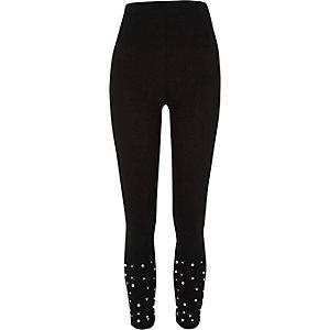 Black faux pearl embellished leggings