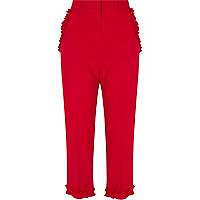 Red frill hem cropped pants