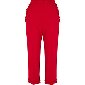 Red frill hem cropped trousers