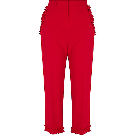 Red frill hem cropped pants