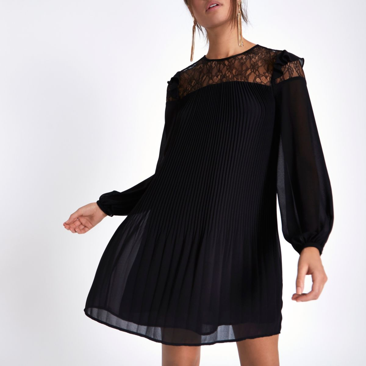 Black pleated lace frill swing dress