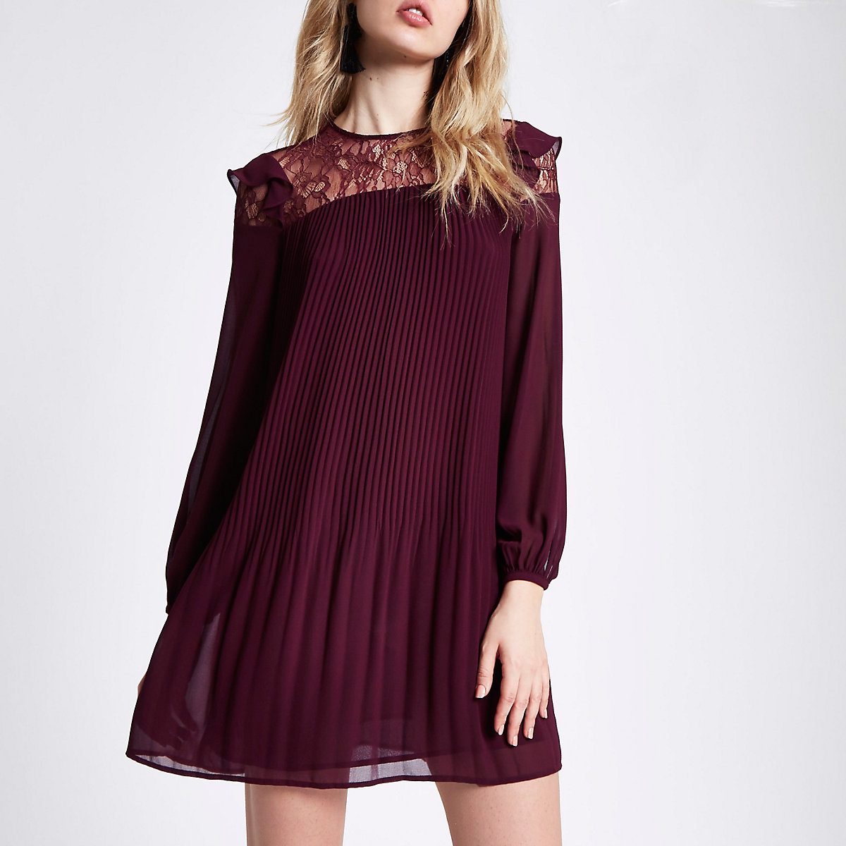 Dark red pleated lace frill swing dress