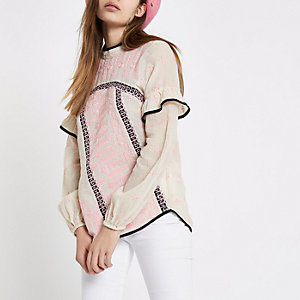 Cream embroidered frill sleeve top