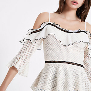 Cream lace frill cold shoulder peplum top