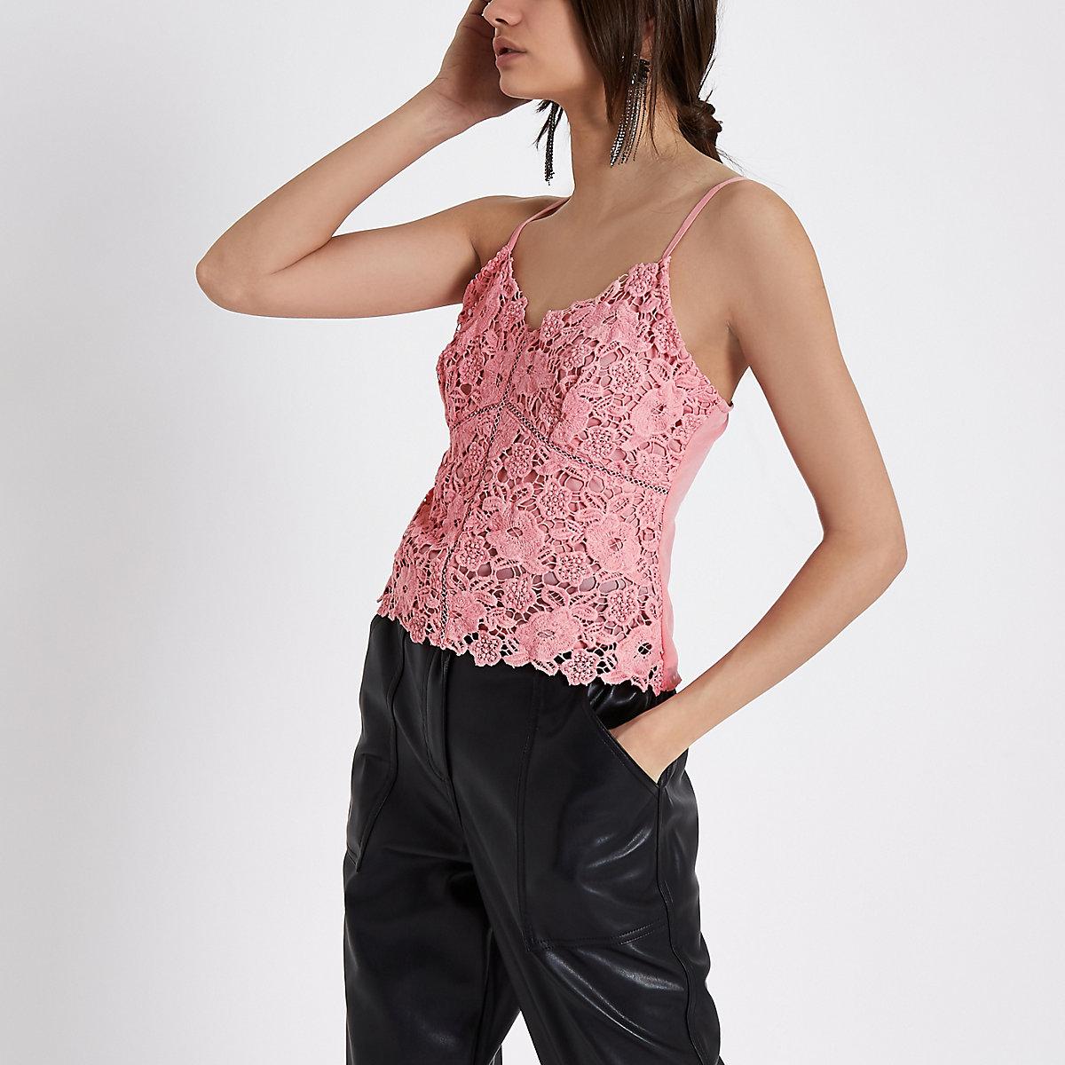 Light pink lace cami bralette