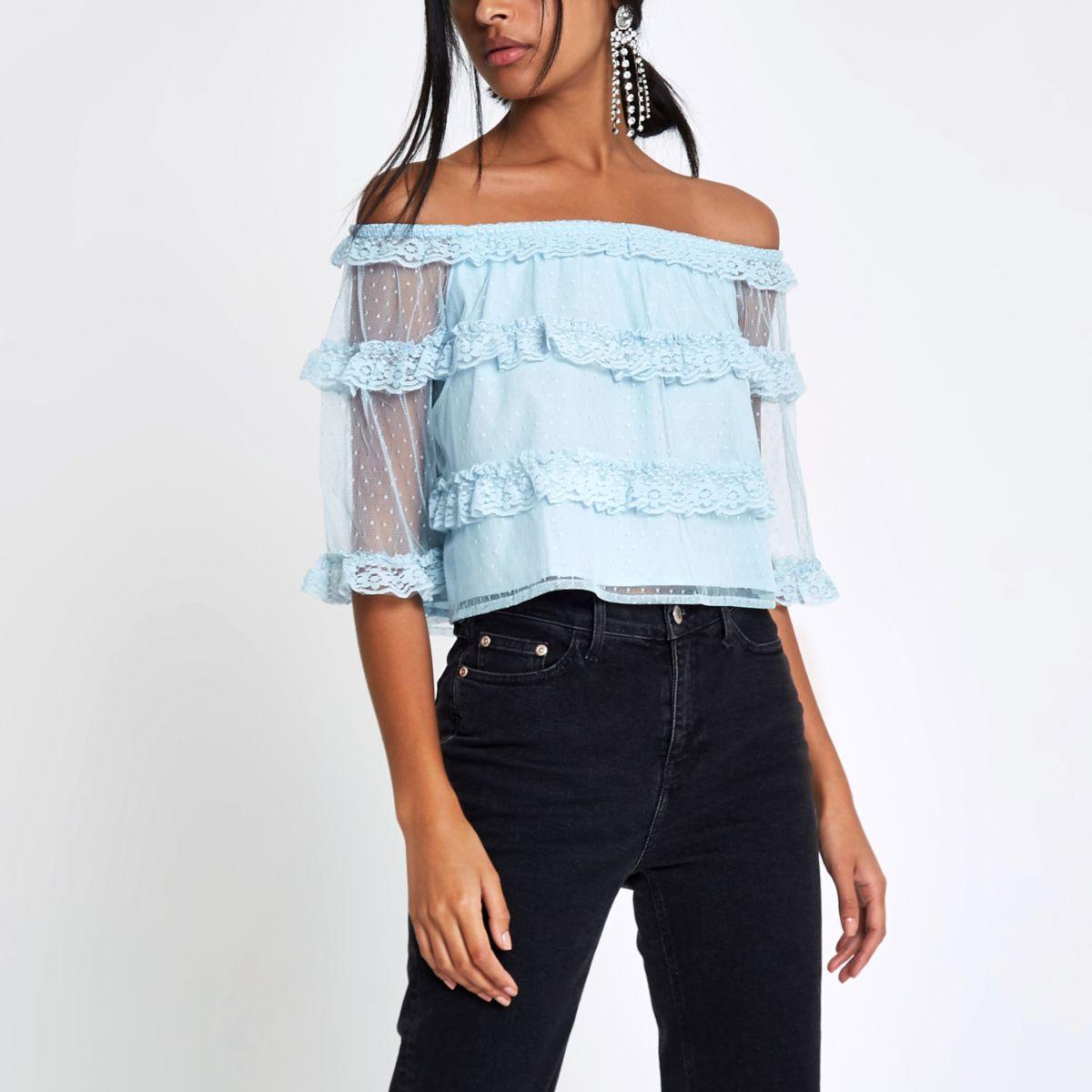 Blue dobby mesh lace frill bardot top