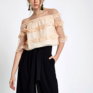 Beige dobby mesh lace frill bardot top