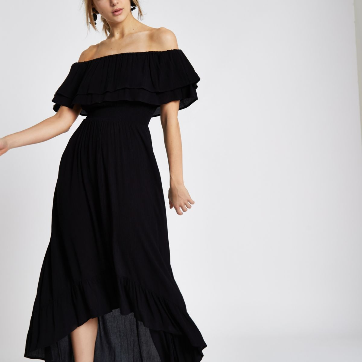 Black frill bardot high low maxi dress