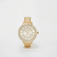 Goudkleurig horloge met schakelbandje en stras
