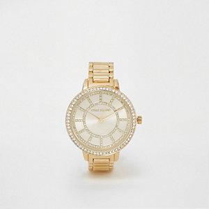 Gold tone link strap diamante watch