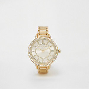 Gold tone link strap rhinestone watch