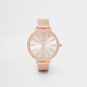 Rose gold tone mesh strap round watch