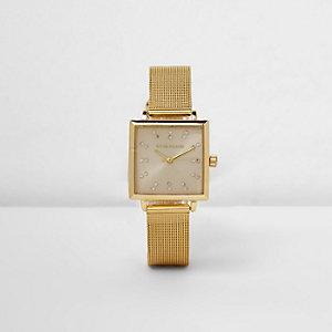 Rechteckige Armbanduhr mit Mesh-Armband in Gold