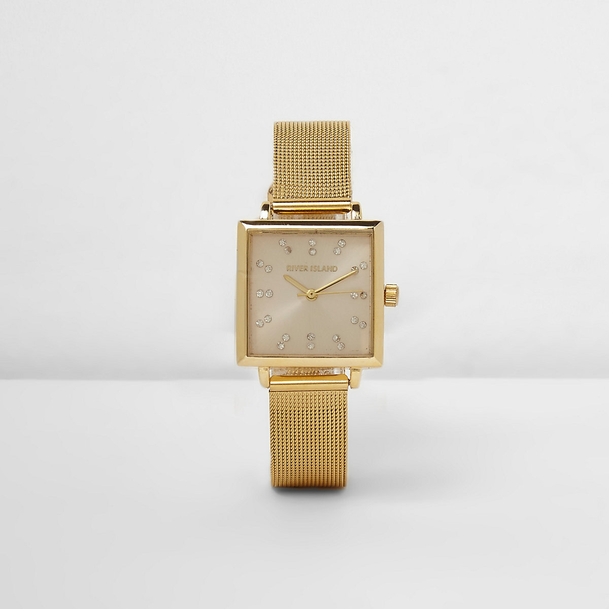 Gold tone mesh strap square face watch