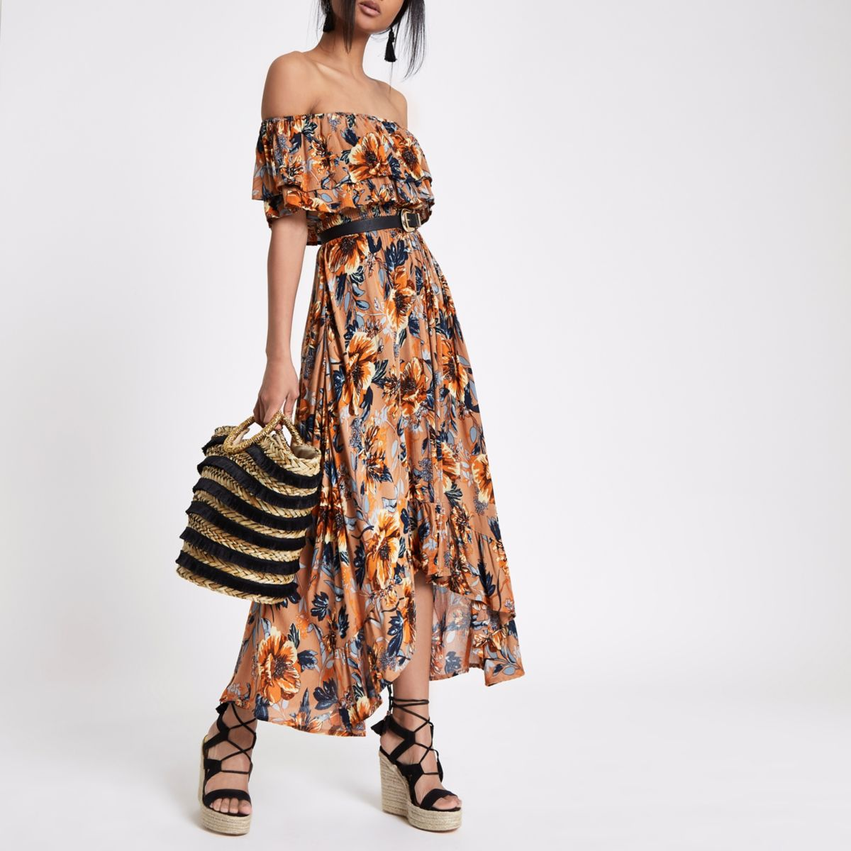 Brown floral print high low hem maxi dress