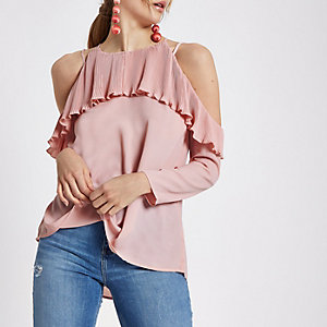 Light pink pleated frill cold shoulder blouse