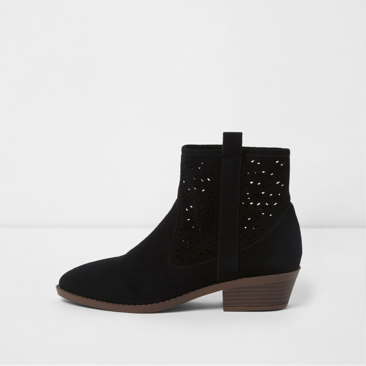 Black laser cut suede western ankle boots
