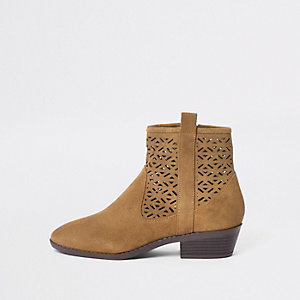 Tan laser cut suede western ankle boots