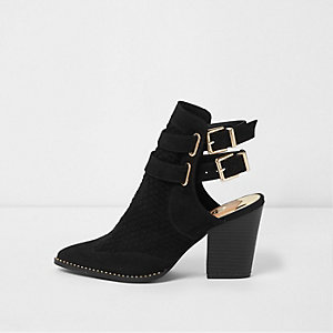 Black pointed toe double buckle western boots
