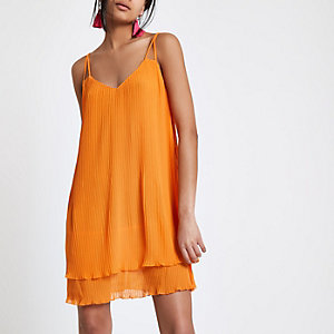 Orange pleated strappy slip dress
