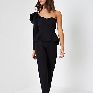Black frill shoulder peplum jumpsuit