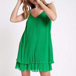 Green pleated strappy slip dress