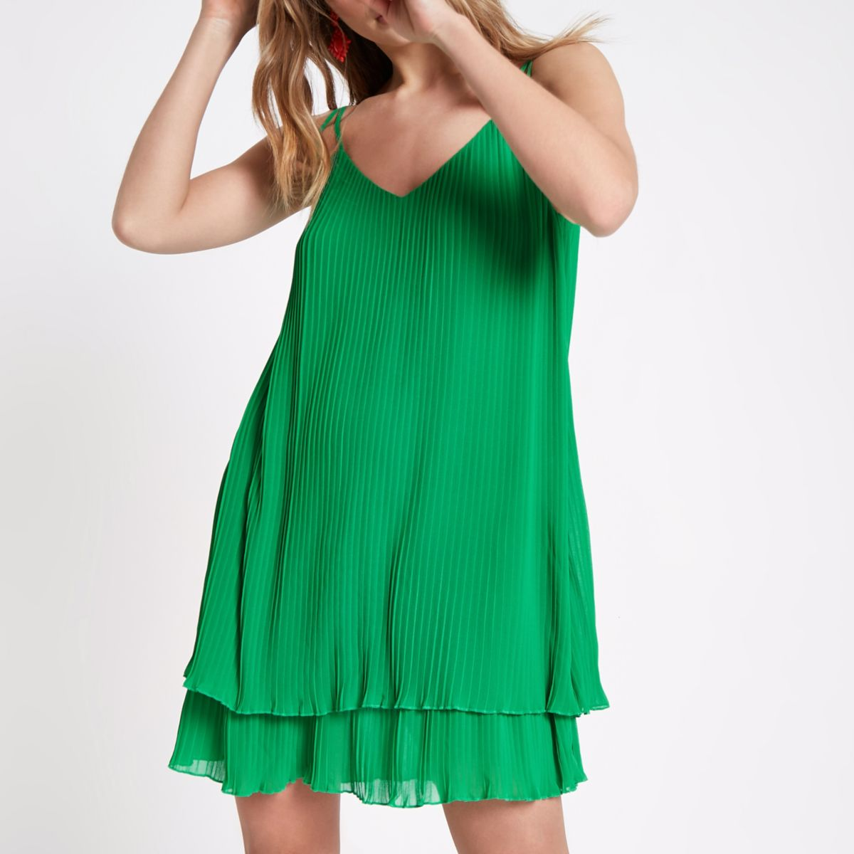Green pleated strappy slip dress