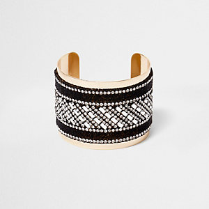 Gold tone glitter diamante cuff bracelet