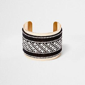Gold tone glitter rhinestone cuff bracelet