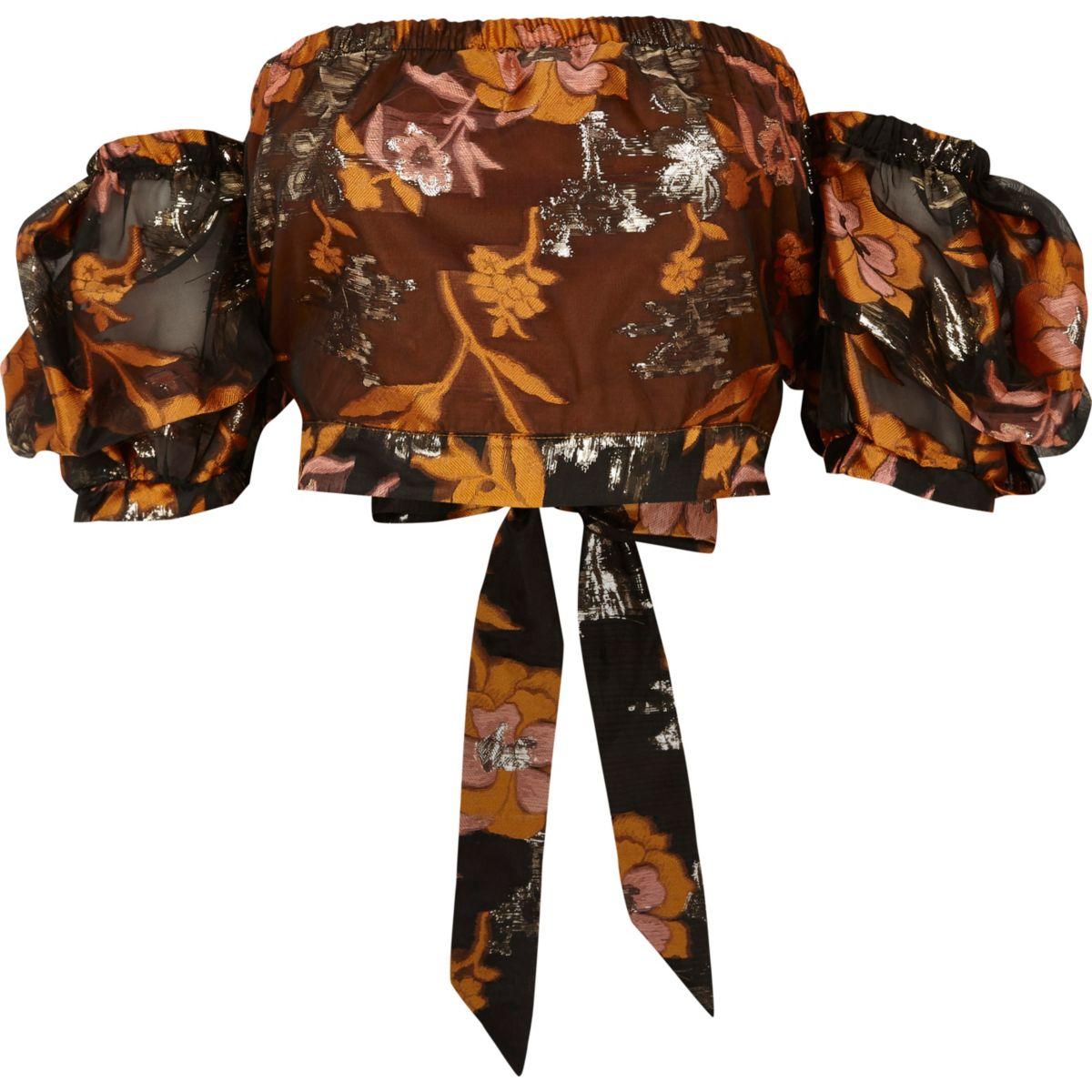 Orange floral puff sleeve bardot crop top