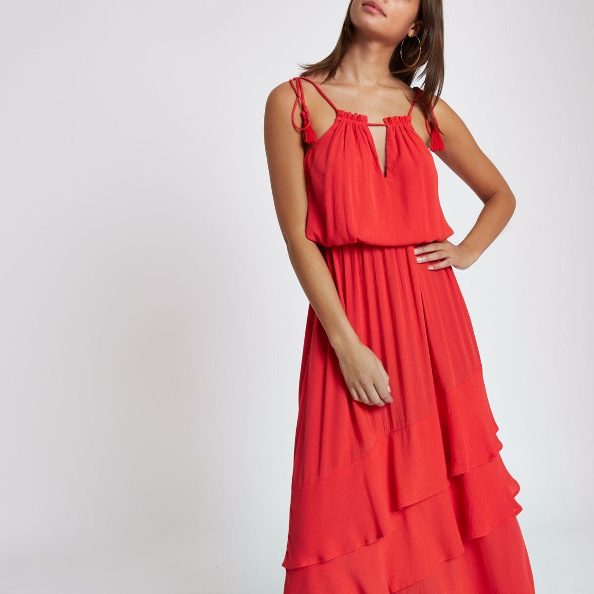 Red high neck tassel maxi dress