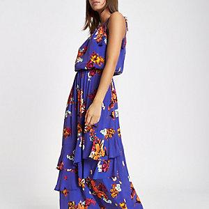 Robe longue à fleurs bleue avec col montant et pampilles